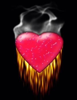 Plastic heart on fire....
