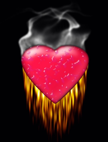Plastic heart on fire....