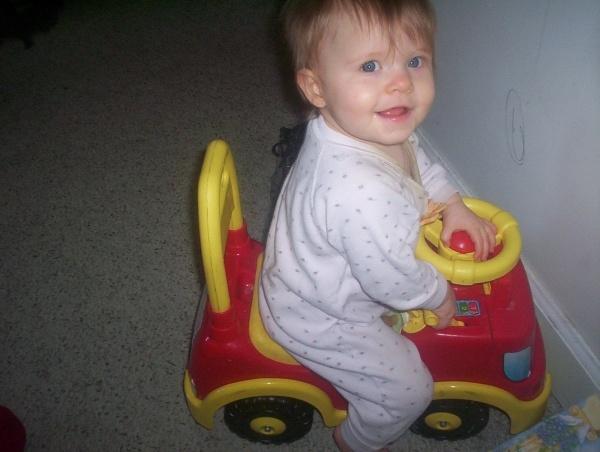 Jazie on fire truck.