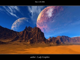 Gold landscape with planet