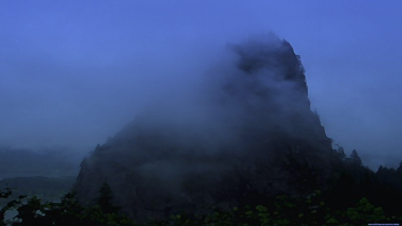 Rainy day on Beacon Rock