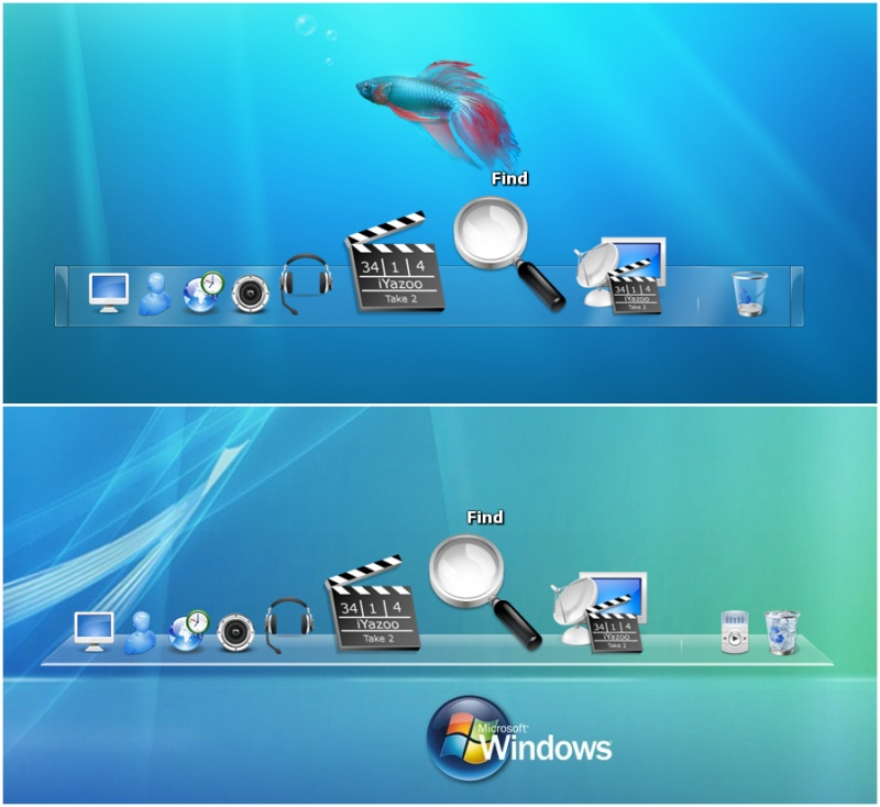 Windows 7 and Leopard Docks