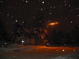 Streetlight Snow at Night