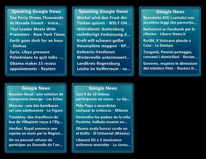 Google News 1.1 eng. + ger. + ita. + fre + spa.