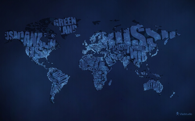 Typographic World Map (Night)