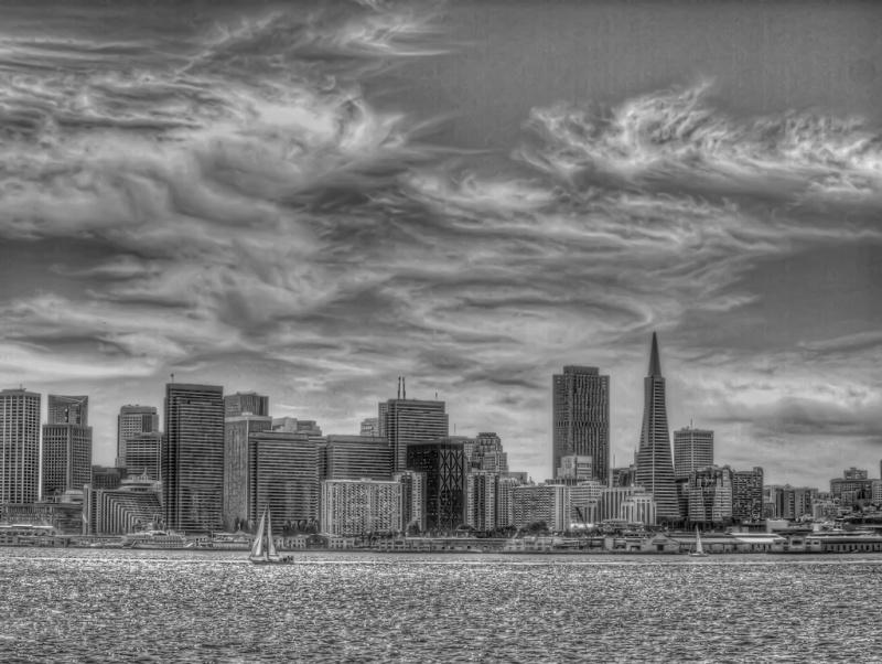 San Fran Skyline B+W