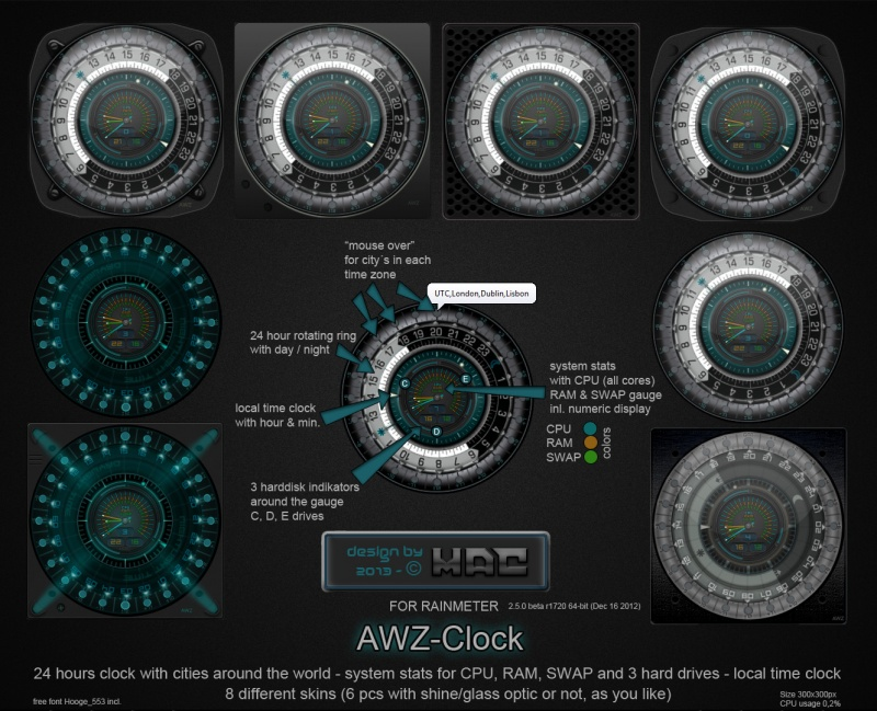 AWZ-Clock (for Rainmeter)