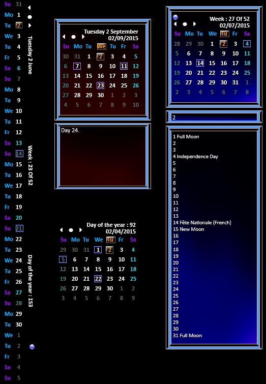 rainmeter calendar with events